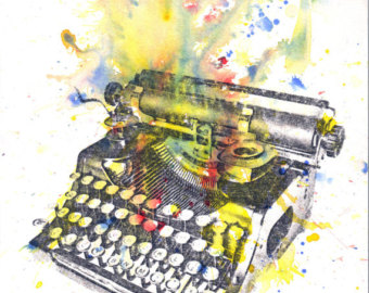 painting of a typewriter